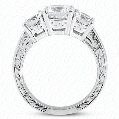 14 Karat White Gold Antique Cut Diamond Unique Engagement Ring