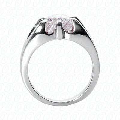 14 Karat White Gold Solitaires Cut Diamond Unique Engagement Ring