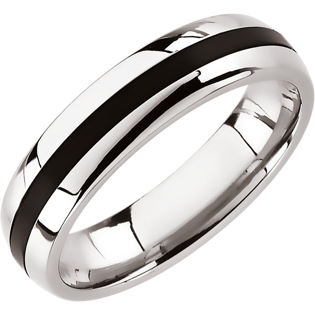 Stainless Steel Black Rubber Band